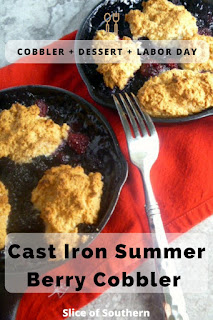 Try this Cast Iron Summer Berry Cobbler before the abundance of summer berries dissapear!  Perfect for Labor Day - Slice of Southern