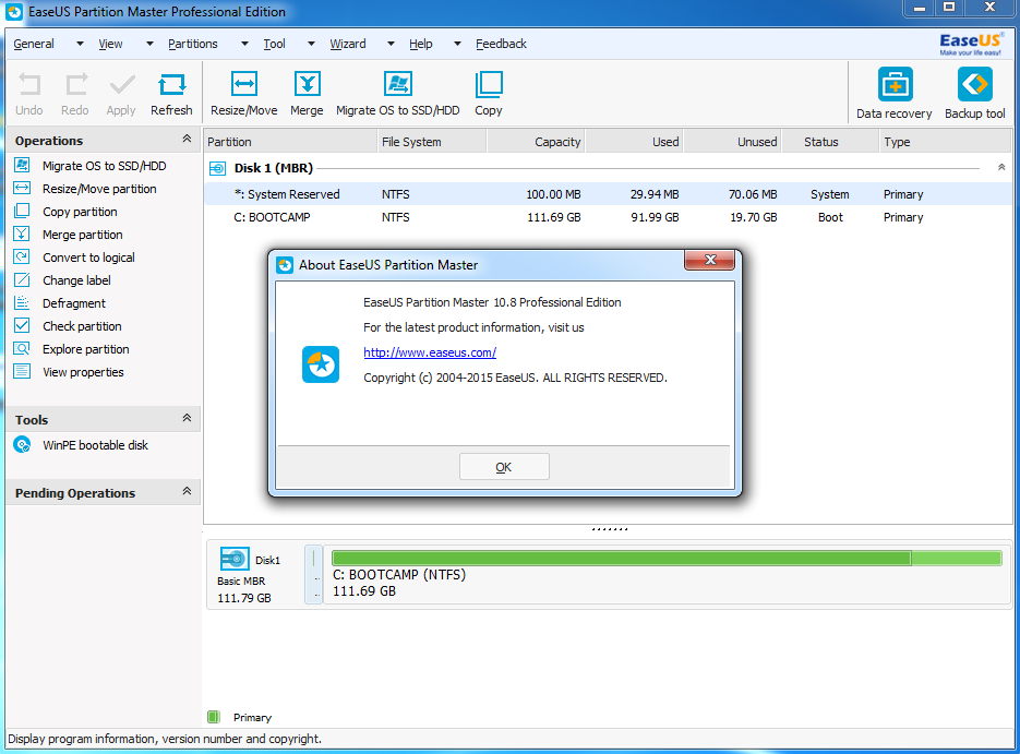 easeus partition master professional edition 11.0
