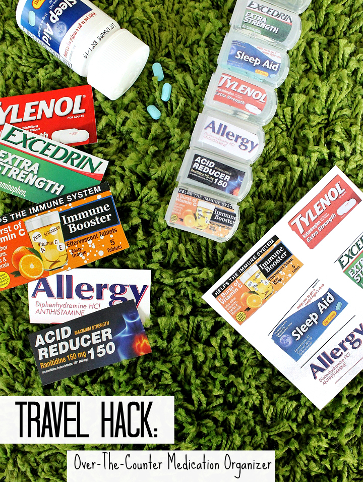 Pack over-the-counter travel medications, supplements, and vitamins in a pill organizer with the labels taped to the caps! #99YourSummer with these simple Summer Vacation Hacks that'll save you dollars and headaches! #DoingThe99 #AD