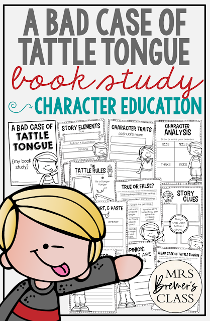 A Bad Case of Tattle Tongue is a good book for the beginning of the school year. It's great for teaching your students the difference between tattling and reporting. This literacy companion pack is packed with activities that are engaging and standards based. #backtoschool #tattletongue #kindergarten #1stgrade