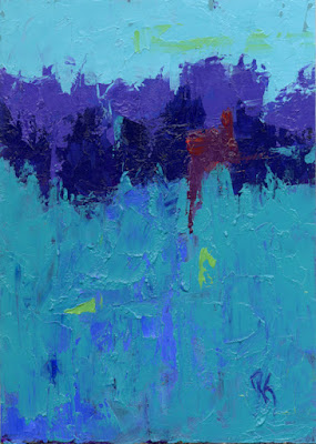 art abstract cool colors teal knife painting
