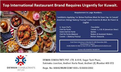 Top International Restaurant Brand Jobs in Kuwait