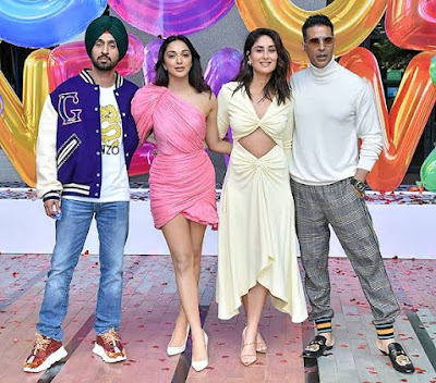 Akshay Kumar, Kareena Kapoor, Diljit Dosanjh, Kiara Advani (right to left)