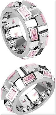 ♦Armoura 45 Degree triangle cut pink diamond platinium ring #jewelry #armoura #brilliantluxury