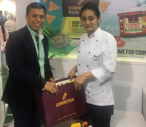 Vikram Agarwal Director of GreenDot Health Foods Limited Cornitos and Chef Pallavi Nigam Sahay  at Aahar 2017