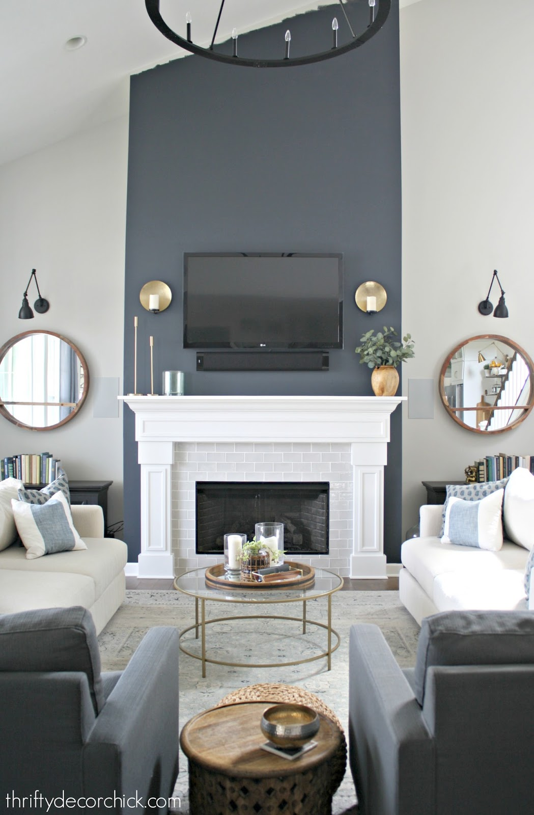 Tall fireplace in Cyberspace by Sherwin Williams
