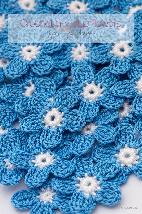 Crochet tiny blue flowers, free pattern, Anabelia Craft Design