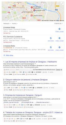 ¿Que ocurre si buscas una empresa de limpieza en Zaragoza en Google?