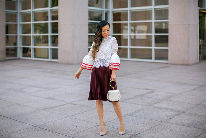fall date night outfit ideas, lace bell sleeves top, burgundy pleated skirt, kendra scott earrings, schutz pumps, chloe nile bag, san francisco style blog, san francisco street style, fall outfit ideas
