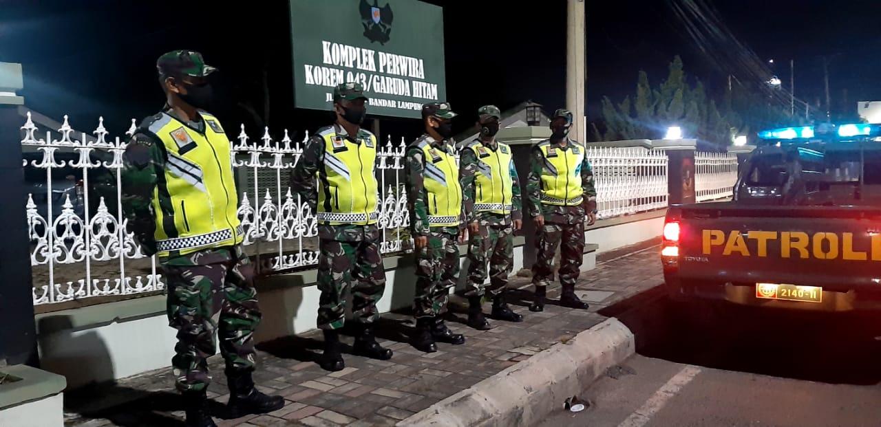 Kodim 0410/KBL melakukan patroli malam secara rutin di wilayah Kota Bandar Lampung