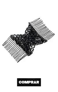 Peinetas Elásticas de Pelo Cabello Mujer Flor Lazo A Doble Cabeza negro