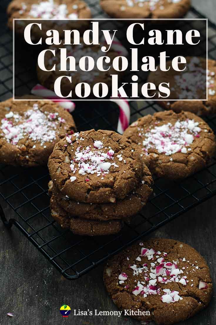 "Eggless Chocolate Cookies with Crushed Candy Canes are a ""perfect holiday"" cookies. With added peppermint essence and crushed candy canes to the dough and sprinkle some on top, these eggless chocolate cookies are chewy and tasty, perfect for this coming festive season."