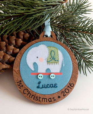 Personalized Baby's First Christmas Holiday Ornament Blue Elephant design