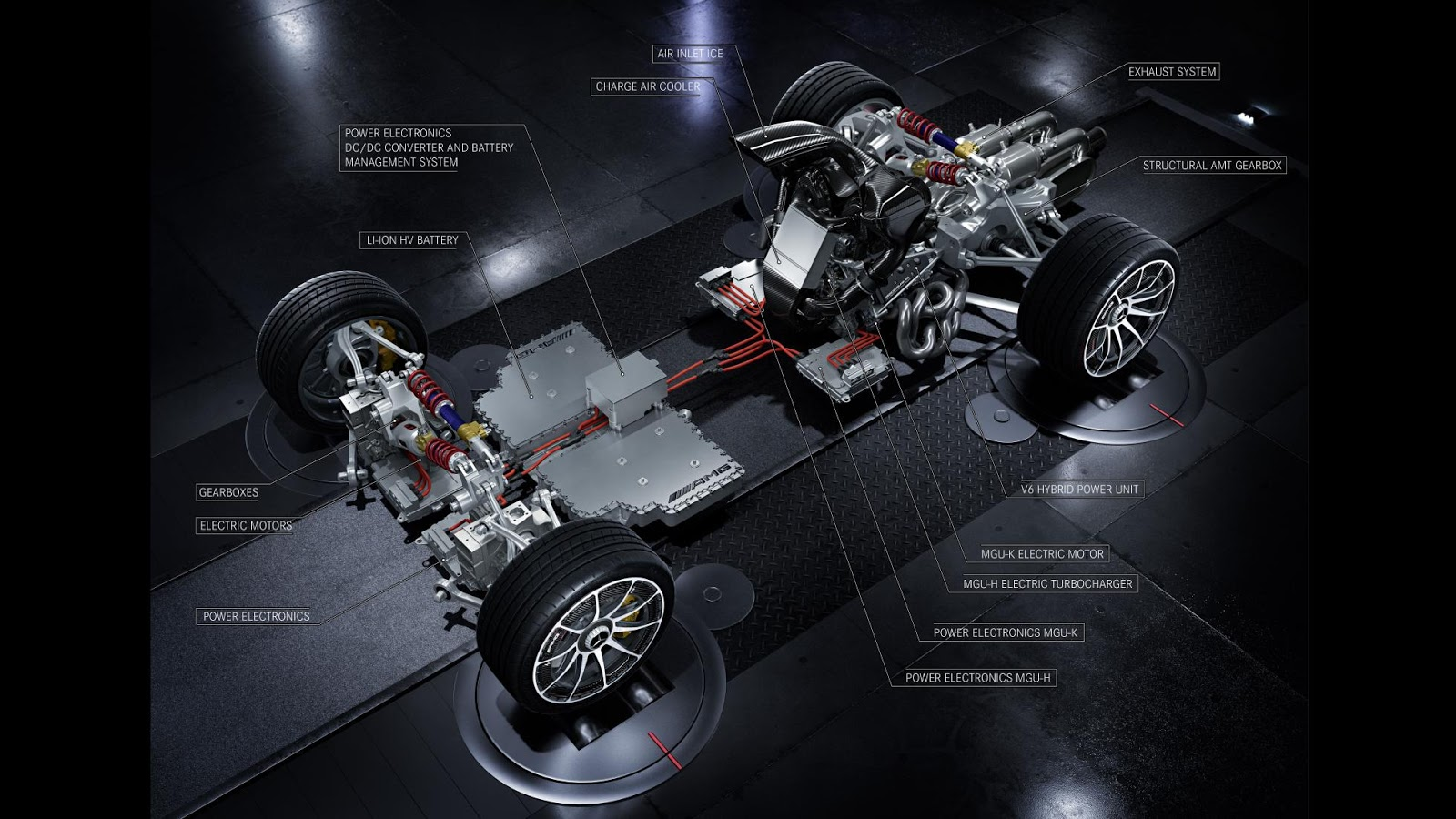 This is the f1 powertrain of the mercedes amg project one for Mercedes benz project one
