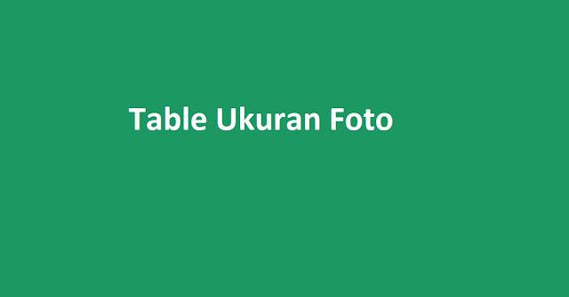 Table Ukuran Foto 2R, 20R, Sampai 30R [mm, cm, inch]