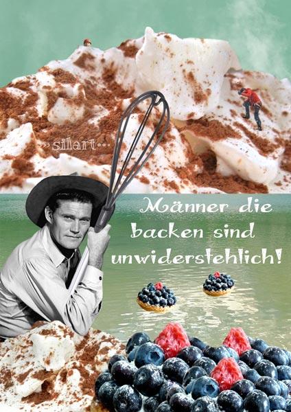 Collage, Digital Art, Mann mit Schneebesen am See vor Sahneberg