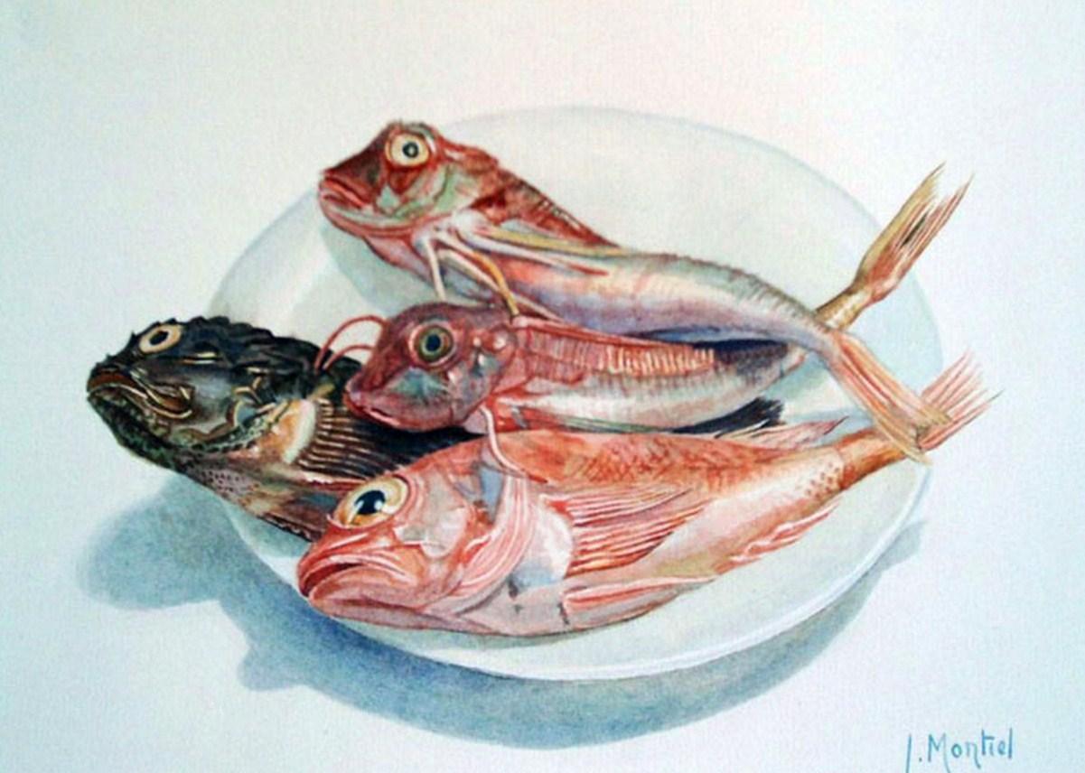 Cuadros modernos pinturas y dibujos cuadro con pescados for Cuadros de peces