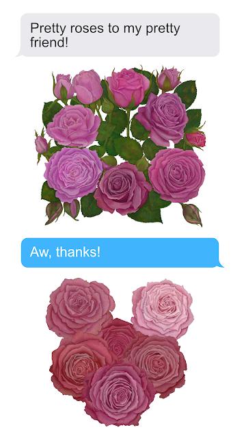iMessage stickers of roses, suitable for e.g. Valentine's Day / iMessage-tarrapakkaus ruusuista, sopii esim. ystävänpäivään