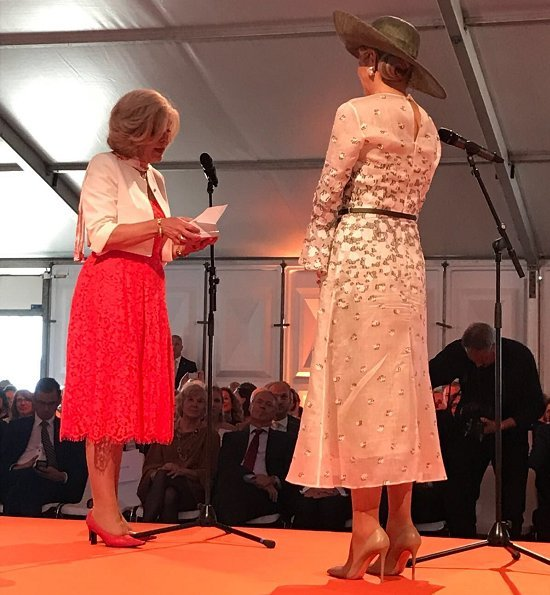 Queen Maxima wore Natan Lace dress.Queen Maxima attended the opening of Princess Máxima Center for Pediatric Oncology'new building