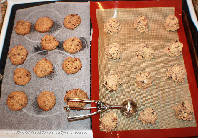 How to make the best cowboy cookies recipe. These are baked cowboy cookies light browned and then some on a cookie sheet made perfectly round using an ice cream scoop.