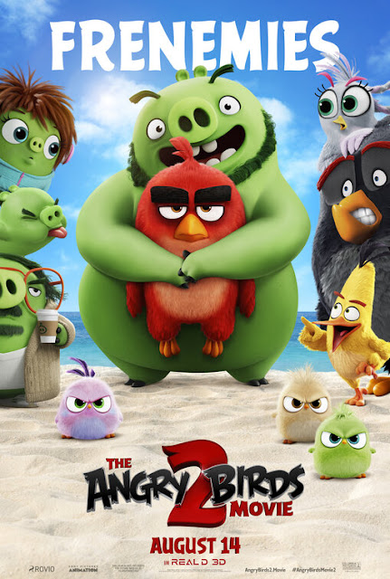 Movie poster for Sony Pictures Animation's 2019 comedy The Angry Birds Movie 2, starring Jason Sudeikis, Leslie Jones, Rachel Bloom, Danny McBride, Josh Gad, Jojo Siwa, Peter Dinklage, Awkwafina, and Sterling K. Brown