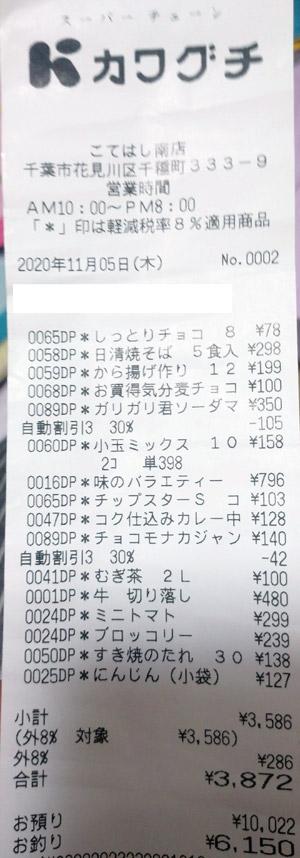 カワグチ こてはし南店 2020/11/5 のレシート