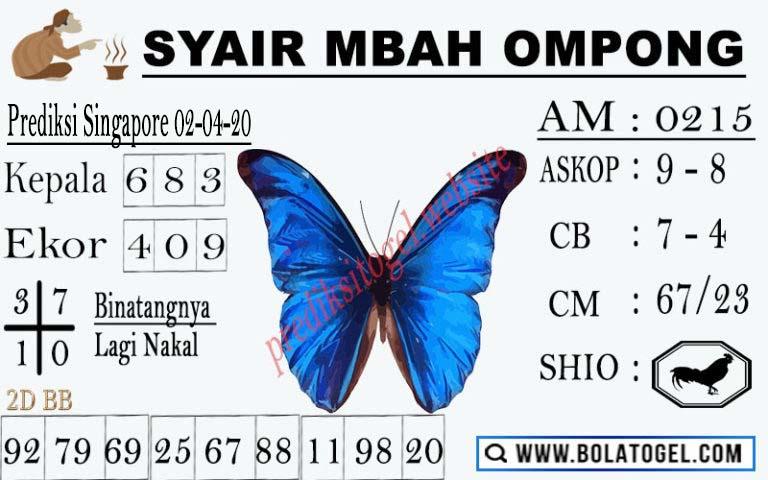Prediksi Togel Singapura Kamis 02 April 2020 - Syair Mbah Ompong SGP