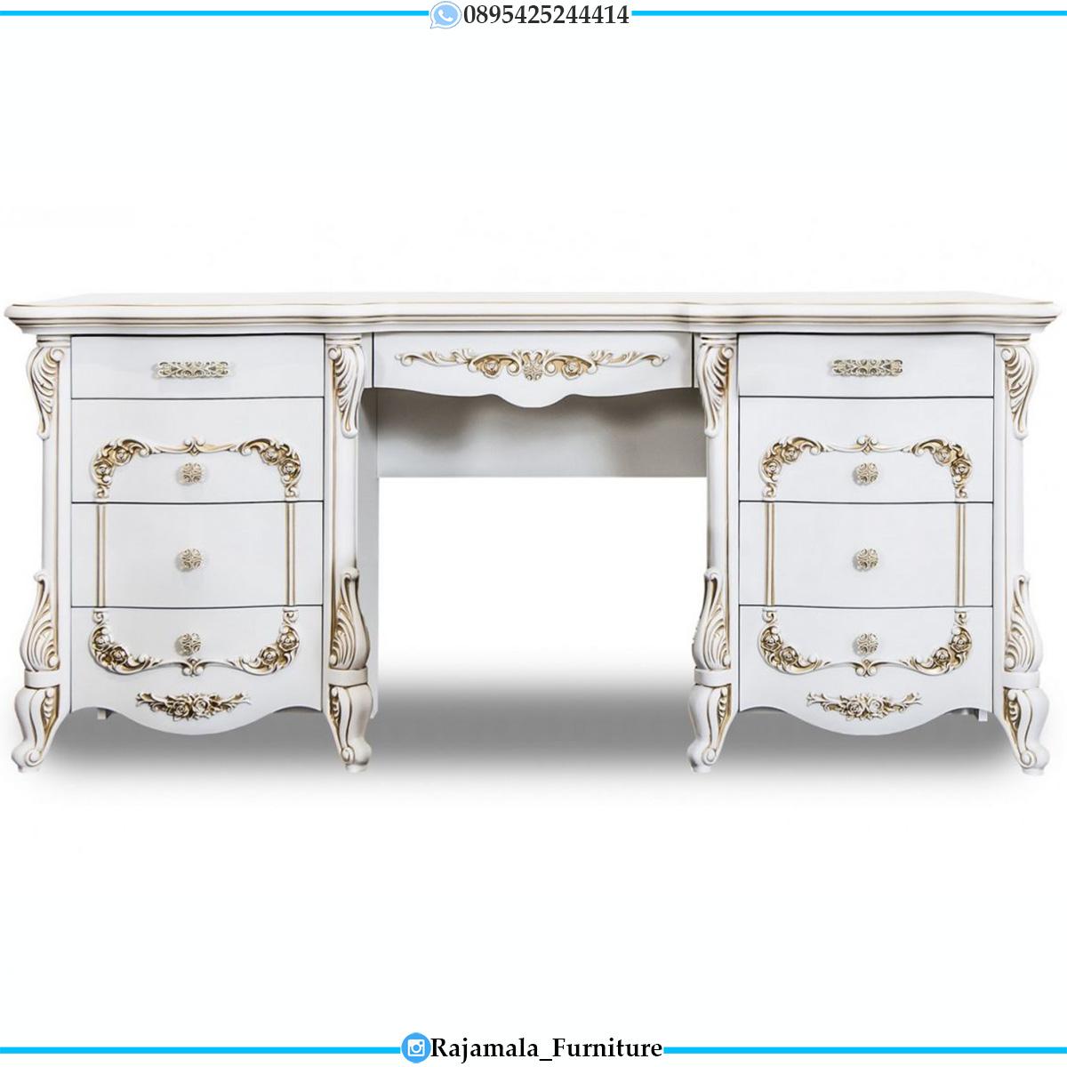 Meja Rias Mewah Putih Duco Golden Combination Luxury Carving Jepara RM-0545