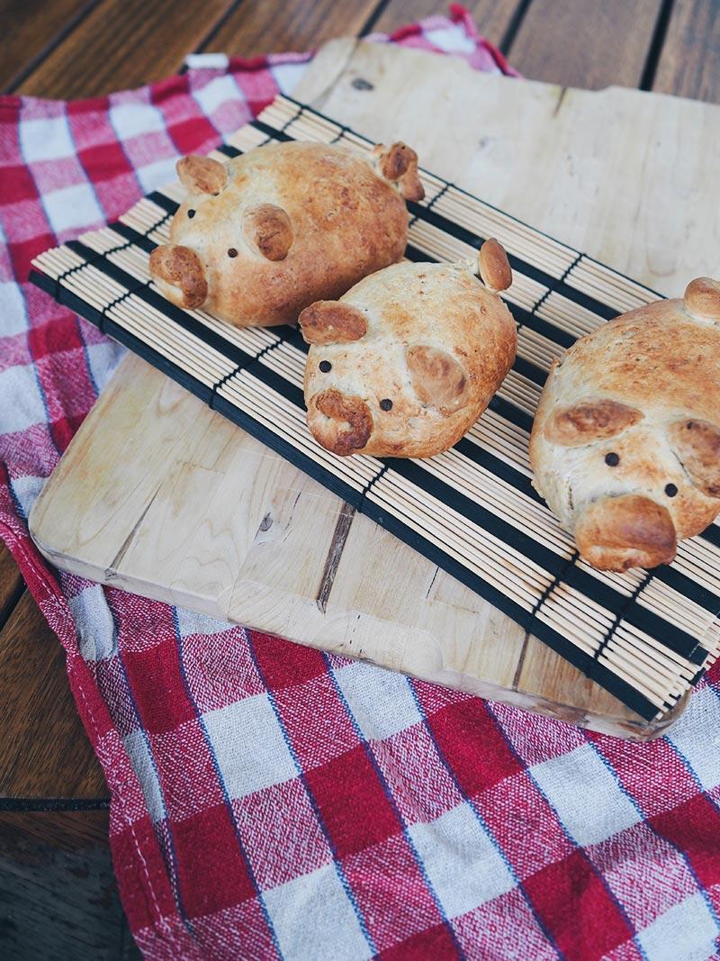 KuneCoco • Rezept • Leckere vegane Ferkelbrötchen mit Cashew-Auberginen-Spinat-Füllung