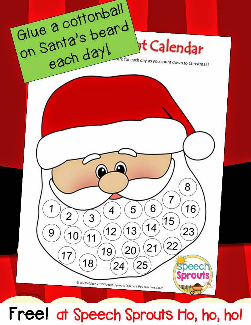 Free Santa Advent Calendar or craft for Christmas