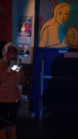 majestic ape con un micrófono y la pintura de comet ping pong