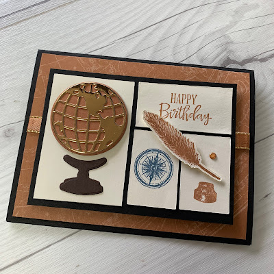 Masculine Birthday Card using a globe compass and feather ink pen