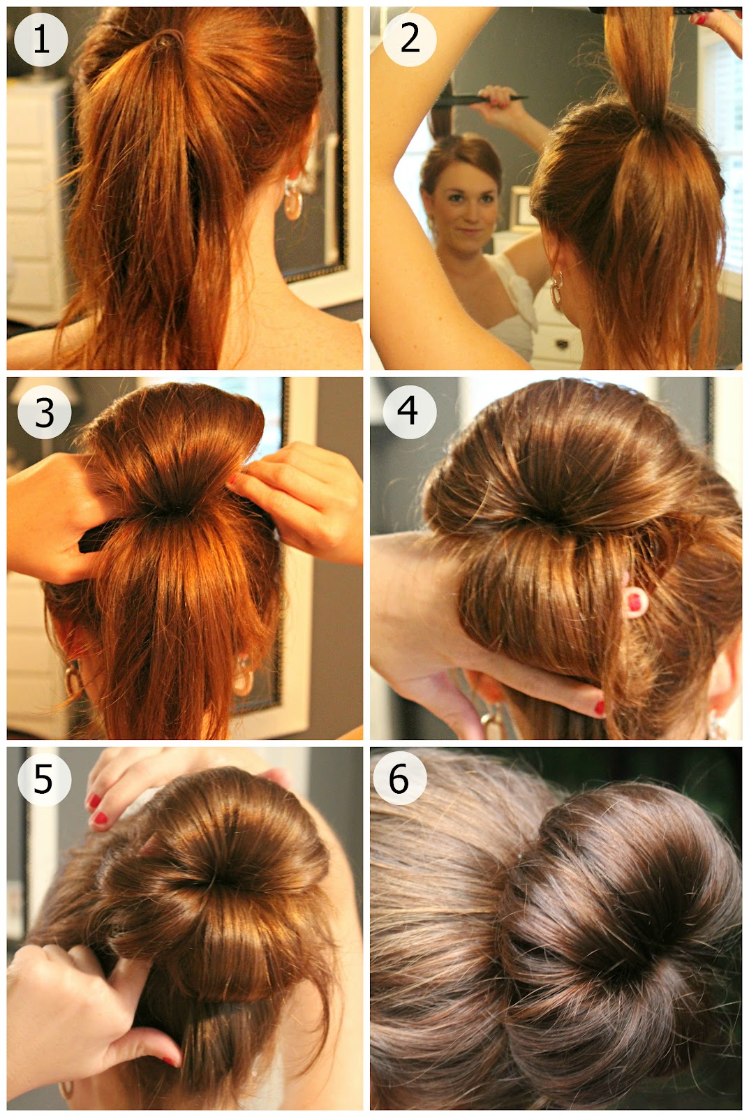 Fabric bun hair tutorial.
