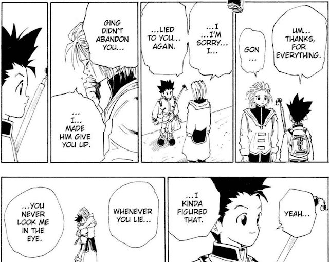 Hunter x Hunter manga page Aunt Mito crying as she confesses that father and master hunter Ging did not abandon spiky haired Gon