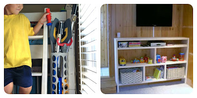 diy weapons holster and playroom storage shelves