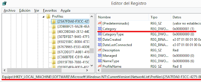 Windows: Cambiar red publica a privada