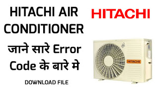 Hitachi air conditioner error code list - download pdf from Ak Tech Hindi