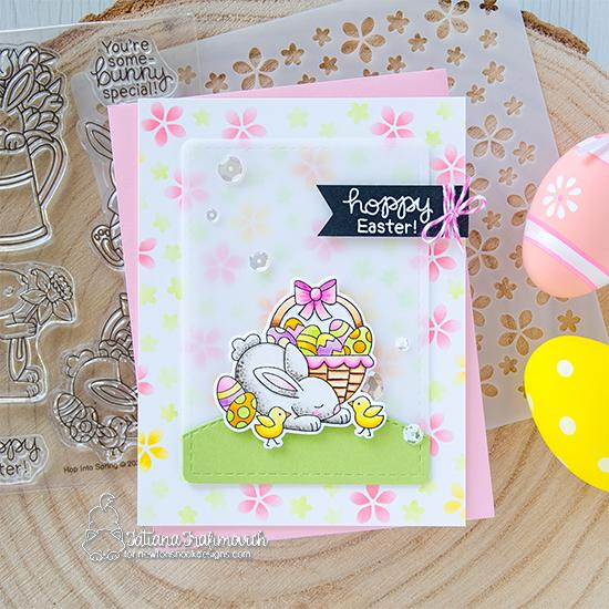 Hoppy Easter Card by Tatiana Trafimovich | Hop Into Spring Stamp Set and Petite Flowers Stencil by Newton's Nook Designs #newtonsnook #handmade