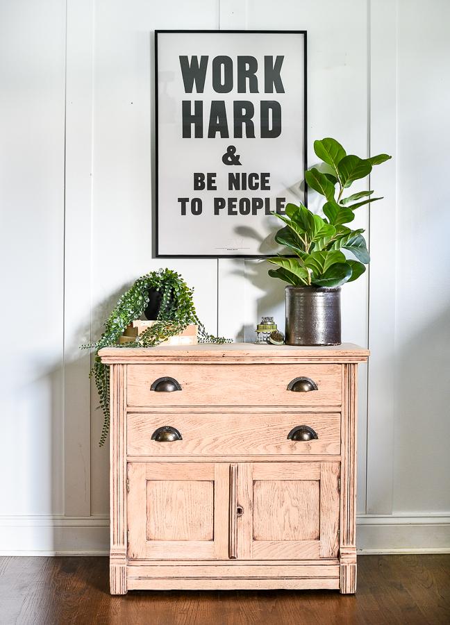 Raw wood wash stand