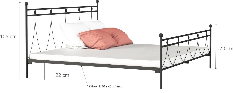 Łóżko metalowe Luizjana wzór 37 (160-180 cm)