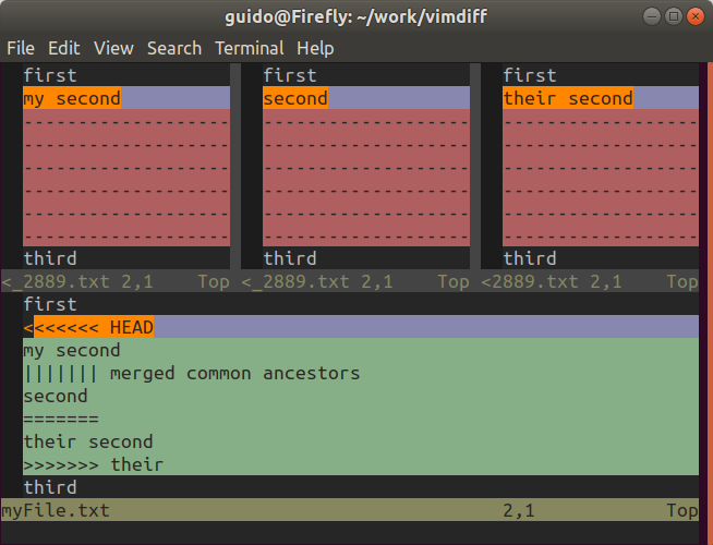 vimdiff, 3-way merge v Gitu
