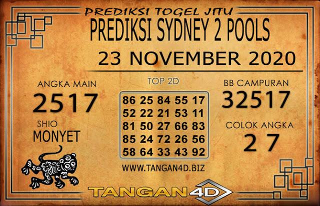 PREDIKSI TOGEL SYDNEY 2 TANGAN4D 23 NOVEMBER 2020