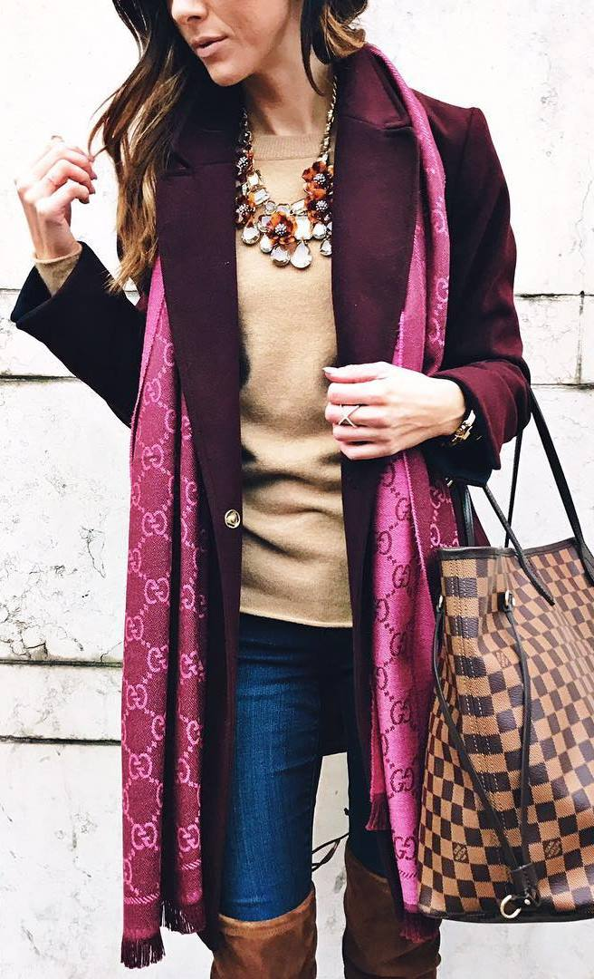 winter outfit of the day | scarf + bag + nude top + coat + skinny jeans + brown over knee boots