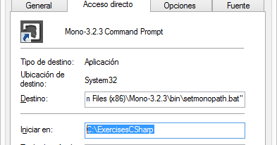 Working directory for Mono in Windows 🚀 Exercises C#