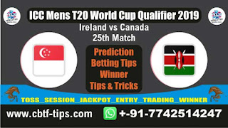 Who will win Today, ICC Men's WC T20 Qualifier 2019, 25th Match CAN vs IRE
