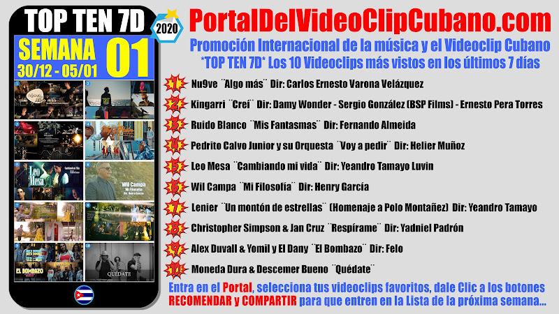 Artistas ganadores del * TOP TEN 7D * con los 10 Videoclips más vistos en la semana 01 (30/12 a 05/01 de 2019) en el Portal Del Vídeo Clip Cubano