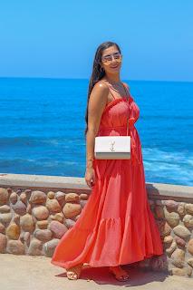 La Jolla beach, shop pink blush orange maxi dress