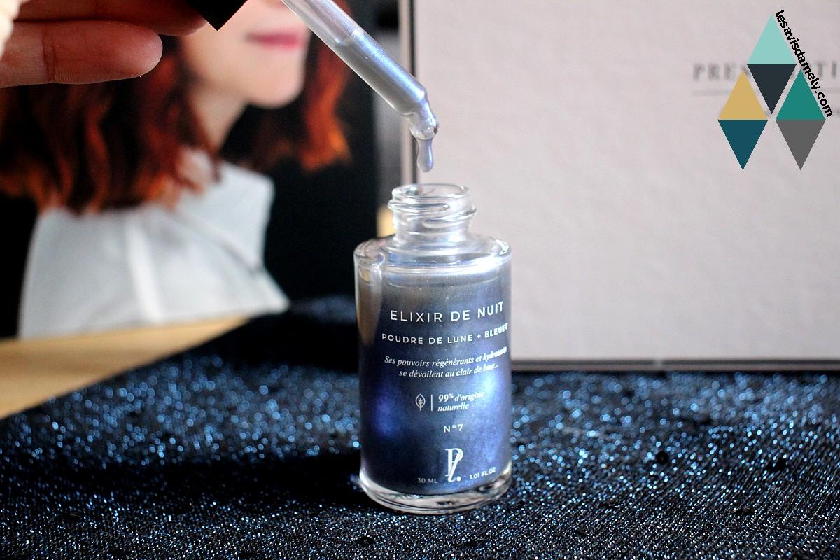 revue sérum elixir de nuit prescription lab beauty poudre lune bleuet