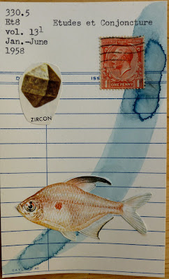 Zircon mineral fish great Britain postage stamp library card mail art Dada Fluxus collage