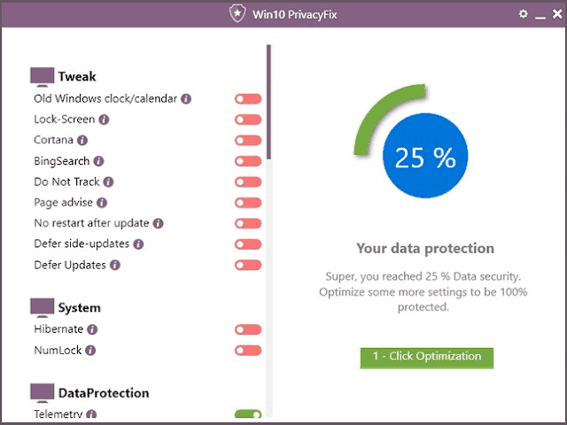Screenshot Abelssoft Win10 PrivacyFix 2.6 Full Version